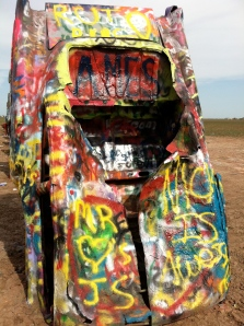 Tip - Bring a can of spray paint with you to the Cadillac Ranch and leave your mark.